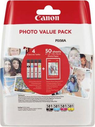 Canon CLI-581 (BK/C/M/Y), original + foto papir (2106C005AA), komplet originalnih kartuš