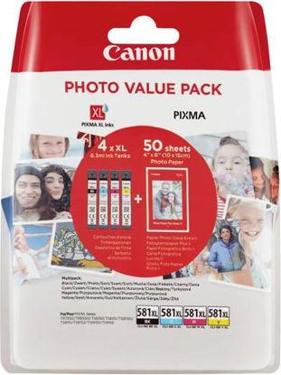 Canon CLI-581 XL (BK/C/M/Y), original + foto papir (2052C004AA), komplet originalnih kartuš