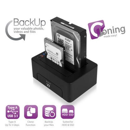 Ewent 2x 2.5/3.5 EW7014 USB 3.1 HDD/SSD Dual, priklopna postaja za disk