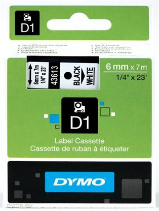 Dymo 43613 (S0720780) 6mm x 7m Black – White, etikete