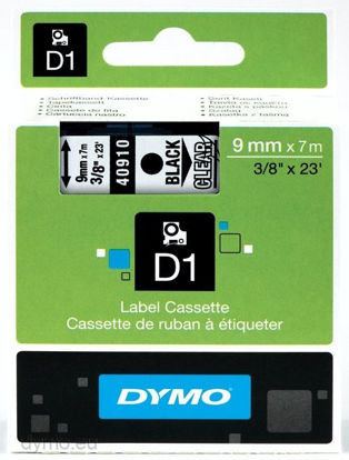 Dymo 40910 (S0720670) 9mm x 7m Black – Clear, etikete