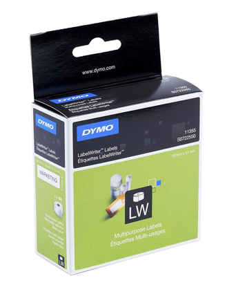 Dymo 11355 (S0722550) 19mm x 51mm x 1000 White, etikete