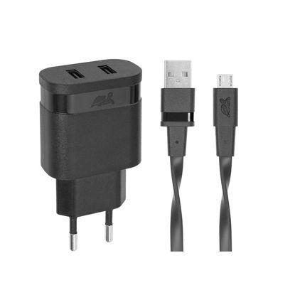 RivaCase RIVAPOWER VA4122 BD1 2,4A/ 2USB + Micro USB Black, hišni polnilec