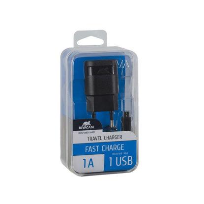 RivaCase RIVAPOWER VA4111 BD1 1,0A/ 1USB + Micro USB Black, hišni polnilec