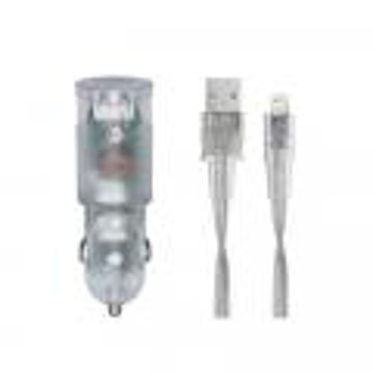 RivaCase RIVAPOWER VA4225 TD2 3,4A/ 2USB transparent + Lightning kable, avto polnilec