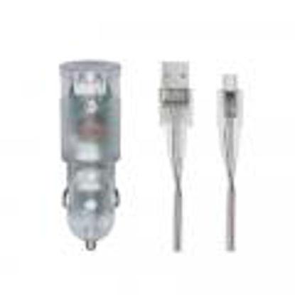 RivaCase RIVAPOWER VA4223 TD1 3,4A/ 2USB + Micro USB kable transparent, avto polnilec