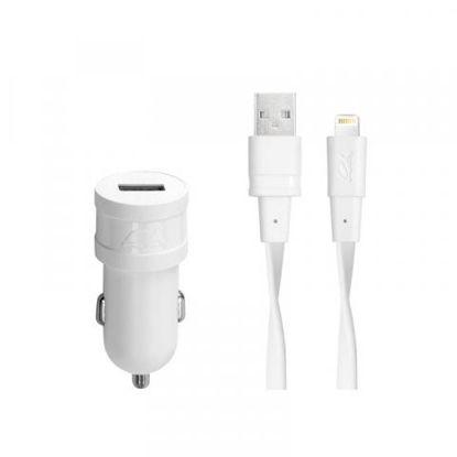 RivaCase RIVAPOWER VA4215 WD2 1,0A/ 1USB + Lightning kable White, avto polnilec