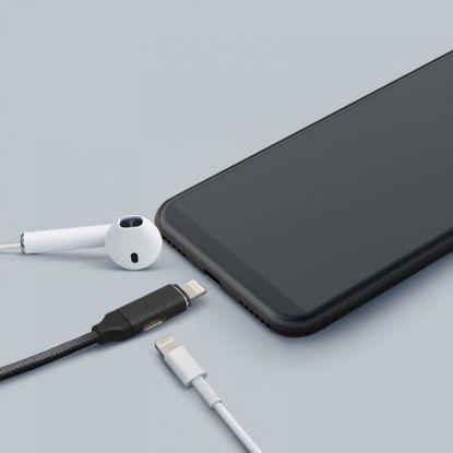 Delight USB A (M) - iPhone Lightning 2 in1 0,4m Black, kabel