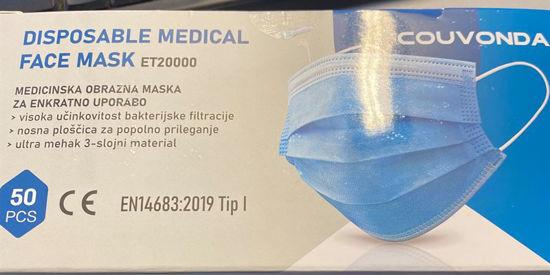 Picture of Zaščitna obrazna maska za enkratno uporabo, 3-slojna, 50 kosov